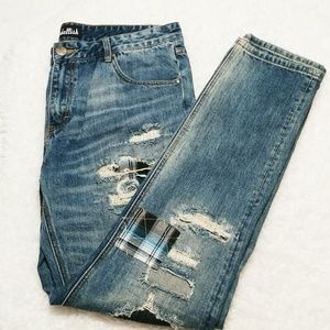 Embellish Tapered Rip & Repair Jeans 38x33